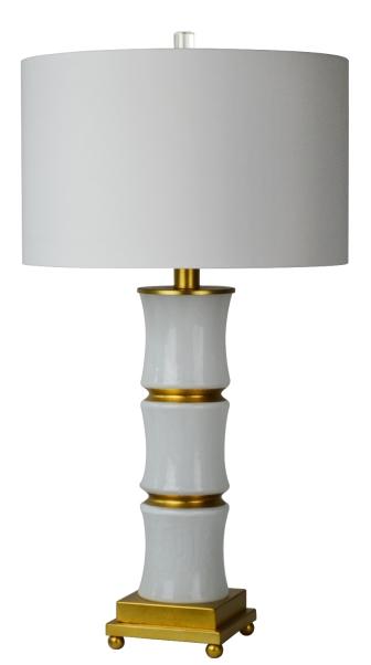Mariana Home-130039-white-gold-ceramic-lamp-with-drum-shade
