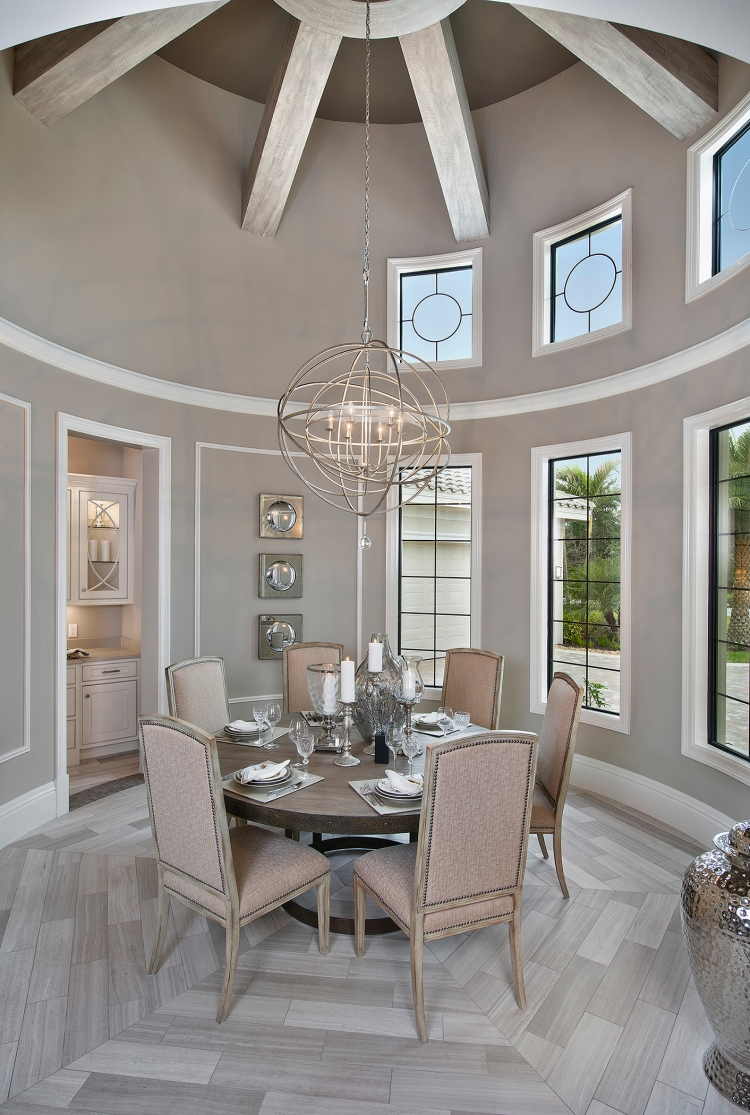 Cinnabar Design Dining Room with Orb Chandelier