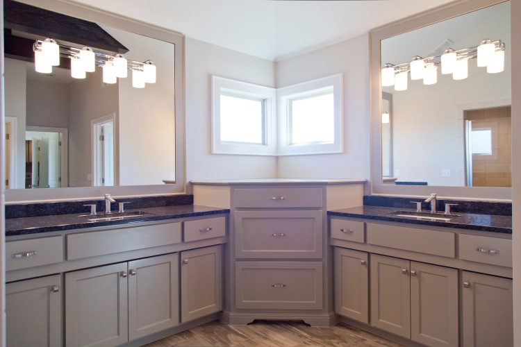 J Larson Homes Master Bath with Vanity Lights