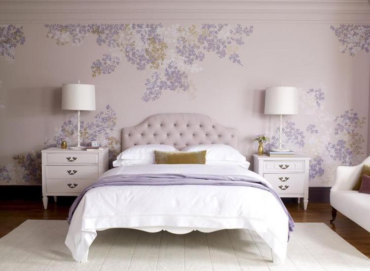 white-purple-luxury-bedroom-white-desk-and-two-arch-lamps-also-floral-wallpaper