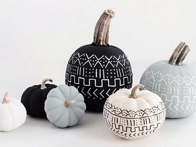 diy-halloween-pumpkins-neutral-colors-tribal-patterns