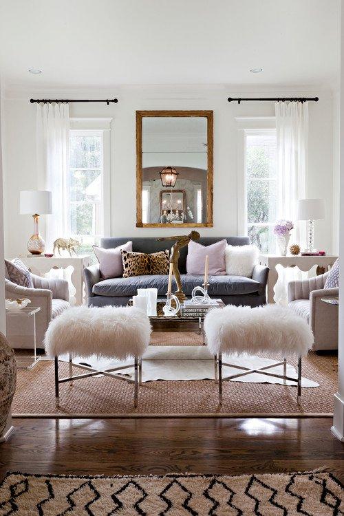 faux-fur-white-foot-rest-diy-living-room-interior-design