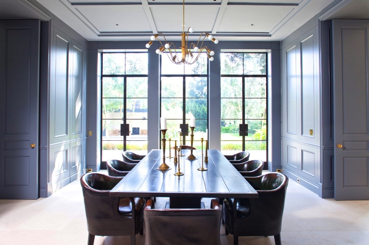 formal-dining-room-modern-contemporary-midcentury-mid-century-gold-black-gray-blue-interior-design-inspiration