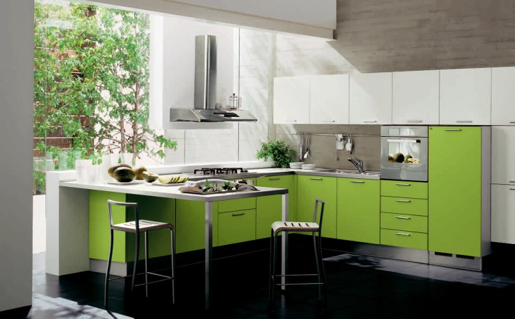 greenery-pantone-color-of-the-year-green-black-white-chair-restaurant-kitchen-bar-stool-cabinets