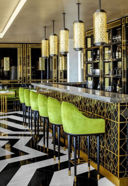 greenery-pantone-color-of-the-year-green-black-white-chair-restaurant-kitchen-bar-stool