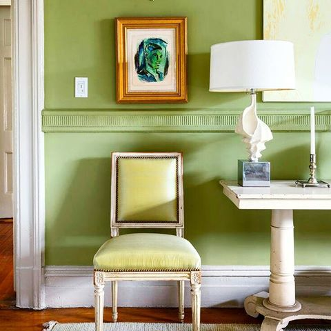 interior-deisng-greenery-pantone-color-of-the-year-green-chair-wall-painting-art
