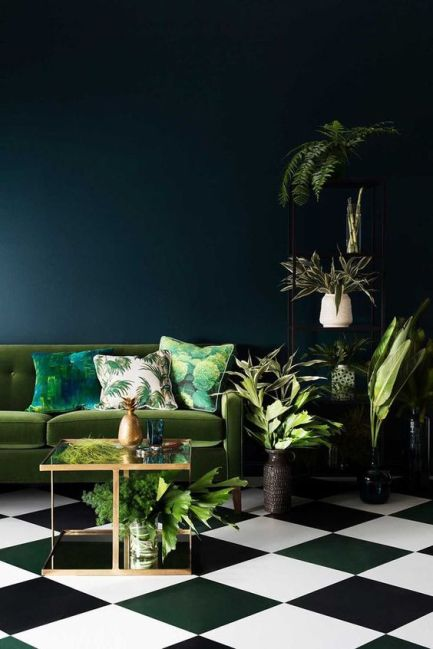 luxurious-luxe-outside-in-greenery-green-navy-blue-plants-living-room-interior-design-inspiration