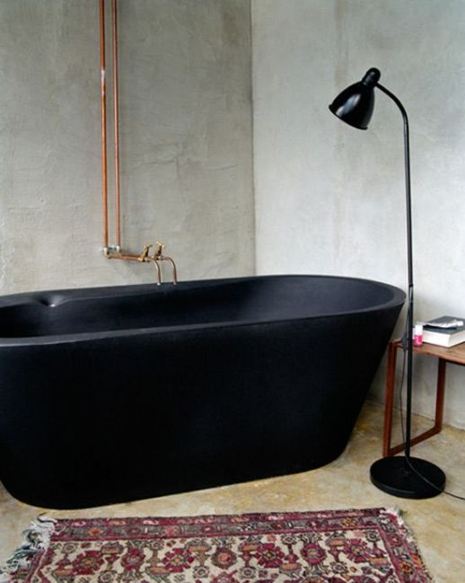 matte-tub-bath-bathroom-black-white-industrial-modern-copper-light-lamp