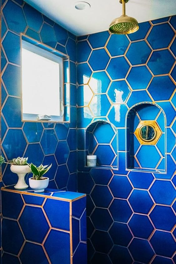 An interior design blog for the fashionable buyer Bright blue tile