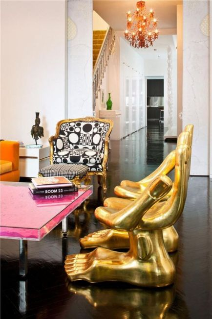 bold-interior-design-home-inspiration-gold-pink-black-white-spunky-retro