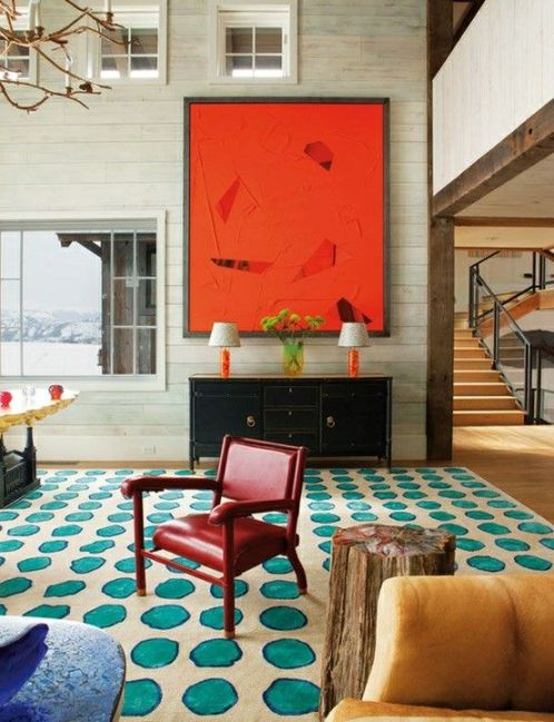 bold-interior-orange-polka-dot-patern-design-inspiration-art-painting