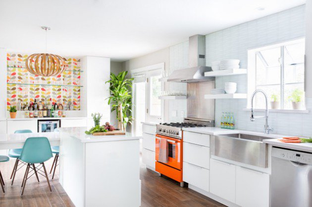 mid-century-modern-kitchen-white-orange-interior-design-plant