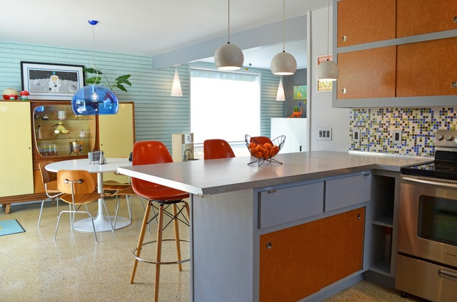 Mid Century Modern Retro Red Chair Interior Design