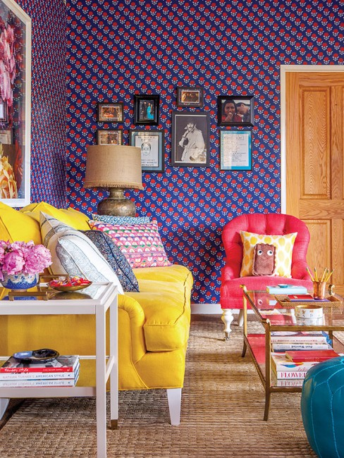 mindy-kaling-office-design-interior-inspiration-bold-pattern-yellow